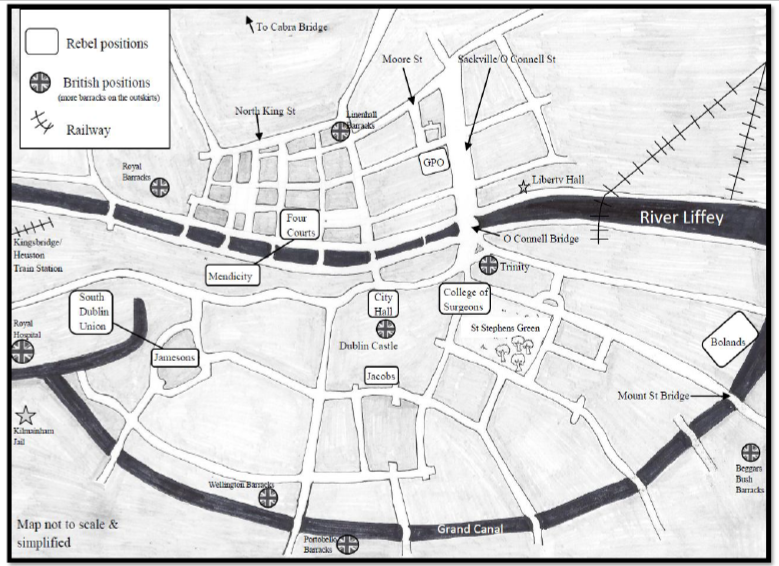 Map depicting 1916 rising key locations